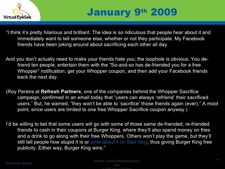 """January 9 th  2009 Confidential Katherine Glover   """" I think it's pretty hilarious and brilliant. The idea is so ridiculou..."""