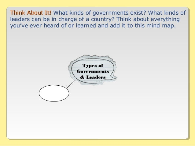 Types of Governments & Leaders Think About It!Think About It! What kinds of governments exist? What kinds of leaders can b...