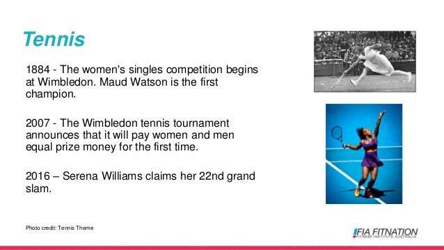 Tennis 1884 - The women's singles competition begins at Wimbledon. Maud Watson is the first champion. 2007 - The Wimbledon...