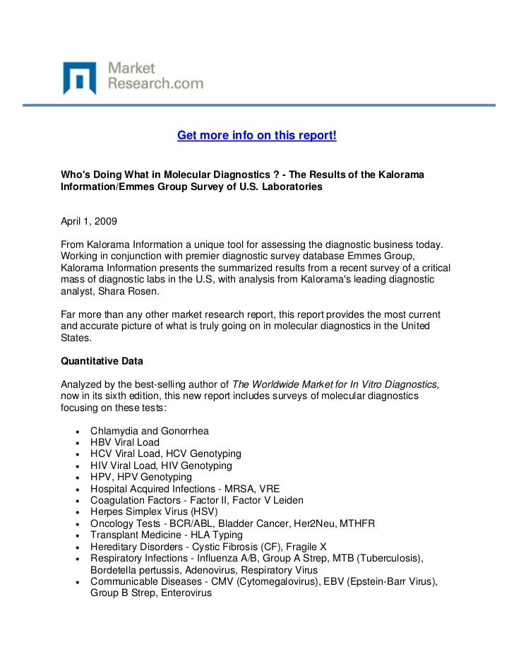 Get more info on this report!Whos Doing What in Molecular Diagnostics ? - The Results of the K...