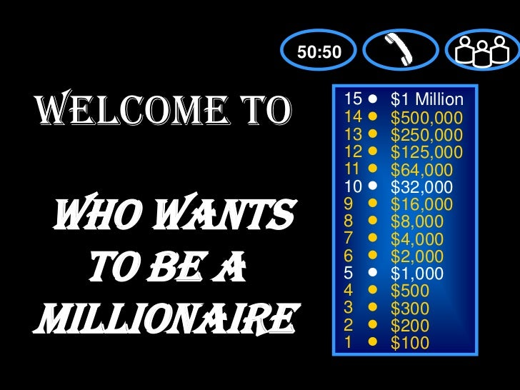 50:50<br />Welcome toWho Wants to be a Millionaire<br />15<br />$1 Million<br />14<br />$500,000<br />13<br />$250,000<br ...