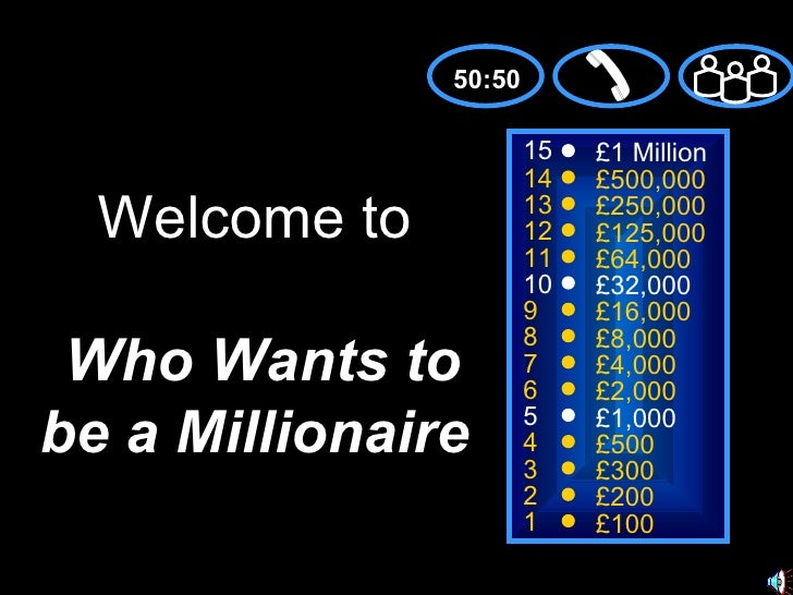 Who wants to be a millionaire the music industry for Who wants to be a millionaire powerpoint template with music