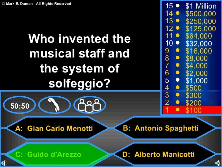 Who wants to be millionaire music game