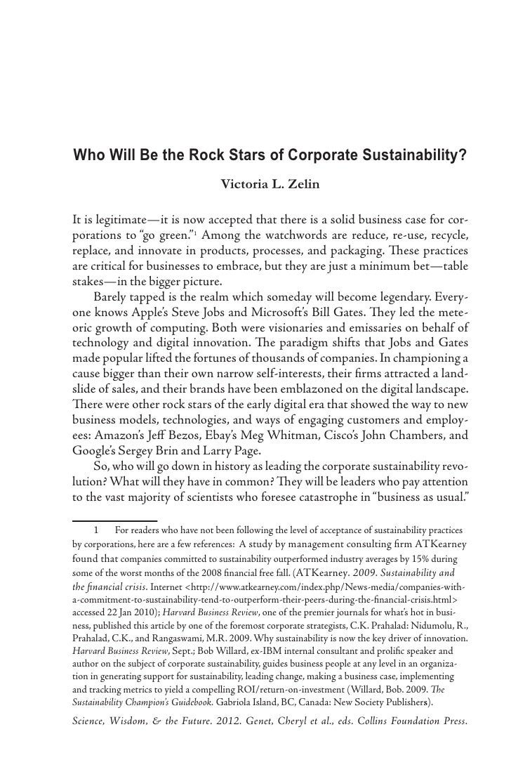 Who Will Be the Rock Stars of Corporate Sustainability?                                      Victoria L. ZelinIt is legiti...