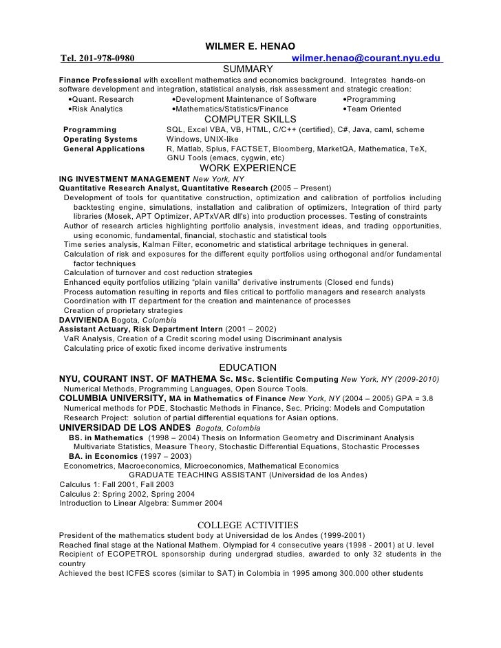 Amazing Quantitative Finance Resume Intended For Quantitative Analyst Resume