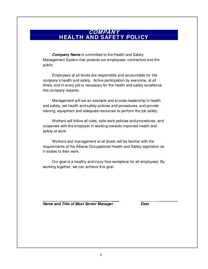 Whs ps building – Sample Health and Safety Policy