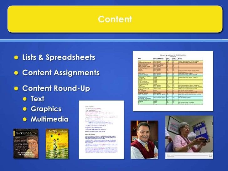 Assistance with Launch of University Web Site</li></li></ul><li>Publications<br />Assessment of Content<br />Existing<br /...