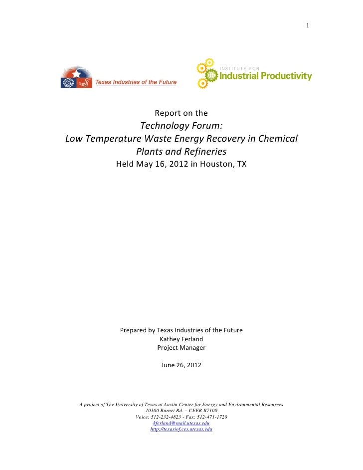 1                                    Report on the               Technology Forum:Low Temperature Waste Energy Recovery in...