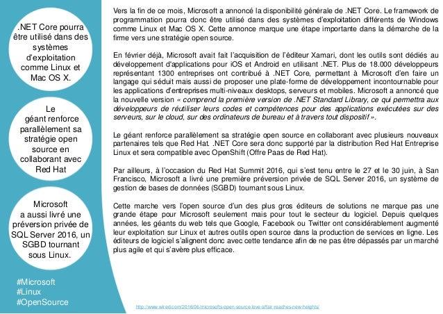 Vers la fin de ce mois, Microsoft a annoncé la disponibilité générale de .NET Core. Le framework de programmation pourra d...