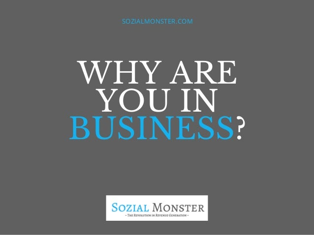 WHY ARE YOU IN BUSINESS? SOZIALMONSTER.COM