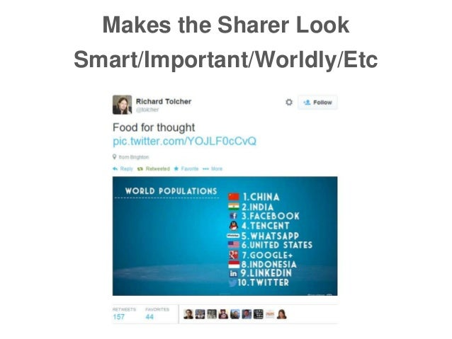 Makes the Sharer Look Smart/Important/Worldly/Etc