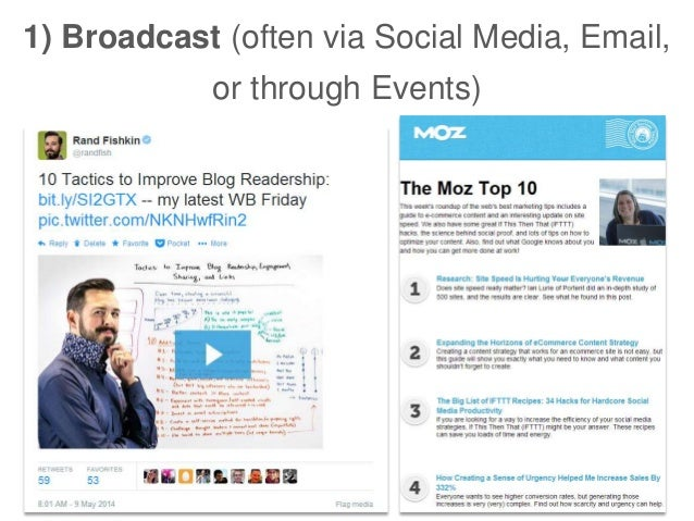 1) Broadcast (often via Social Media, Email, or through Events)