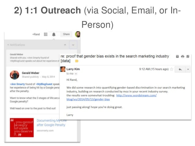 2) 1:1 Outreach (via Social, Email, or In- Person)