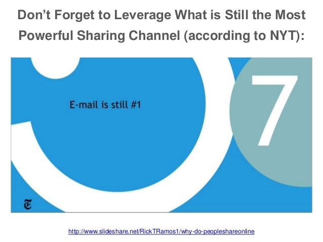 Don't Forget to Leverage What is Still the Most Powerful Sharing Channel (according to NYT): http://www.slideshare.net/Ric...