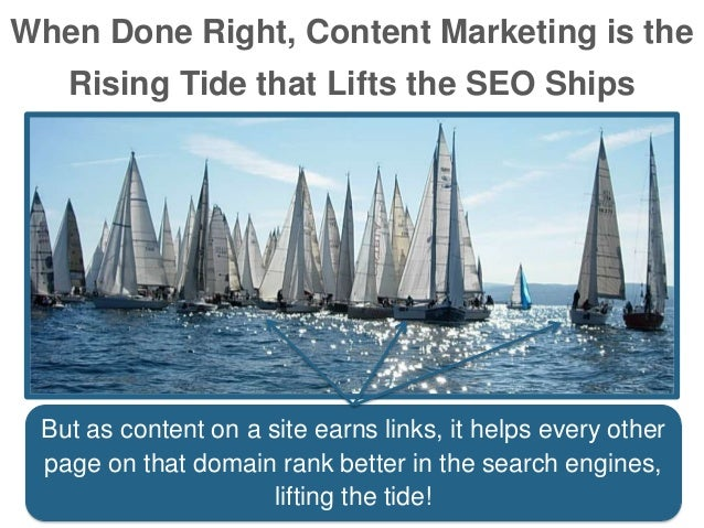 When Done Right, Content Marketing is the Rising Tide that Lifts the SEO Ships But as content on a site earns links, it he...