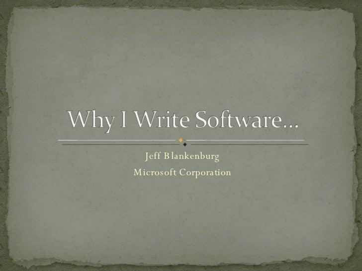 Jeff Blankenburg Microsoft Corporation