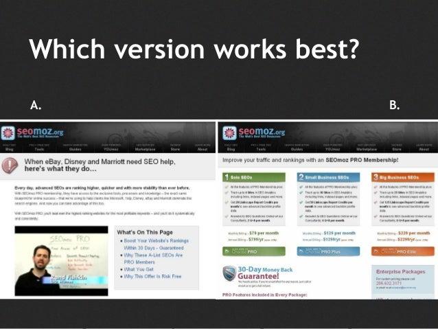 Which version works best? A. B.