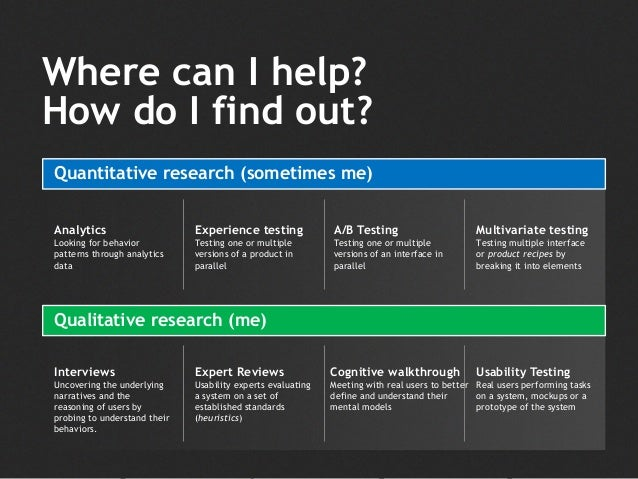 How do I find out? Quantitative research (sometimes me) Qualitative research (me) Multivariate testing Testing multiple in...