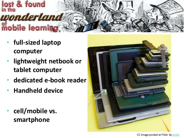 • full-sized laptop  computer• lightweight netbook or  tablet computer• dedicated e-book reader• Handheld device• cell/mob...