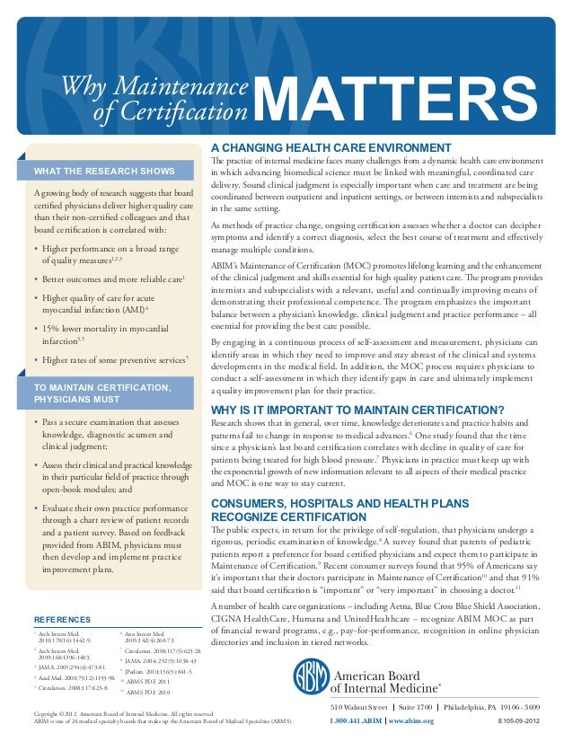 Why Maintenance Of Certification Matters