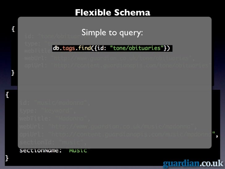 Flexible Schema              Simple to query:Mutualised news!            Query operators:  $ne, $nin, $all, $exists, $gt, ...