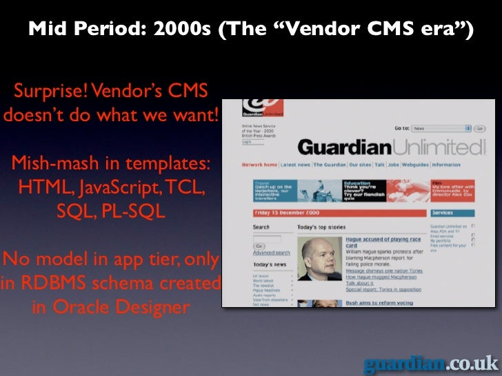 "Mid Period: 2000s (The ""Vendor CMS era"") Surprise! Vendor's CMSdoesn't do what we want! Mish-mash in templates: HTML, Java..."