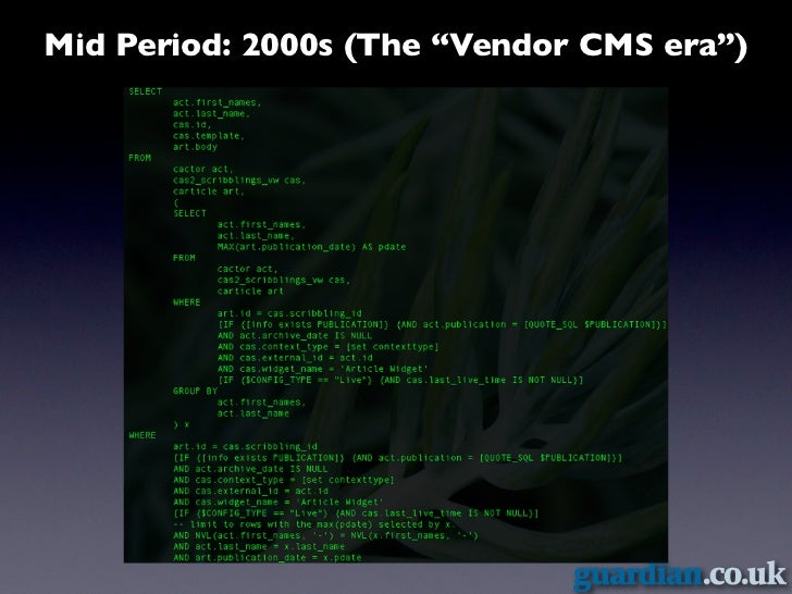 "Mid Period: 2000s (The ""Vendor CMS era"")"