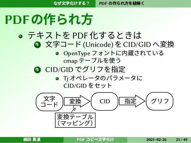 なぜ文字化けする? PDF の作られ方を紐解く PDFの作られ方 テキストをPDF化するときは 1 文字コード (Unicode) を CID/GID へ変換 OpenType フォントに内蔵されている cmap テーブルを使う 2 CID/G...