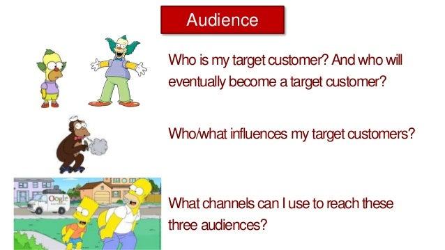 Who is my target customer?And who will eventually become a target customer? Who/what influences mytarget customers? Audien...
