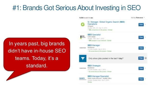 #1: Brands Got SeriousAbout Investing in SEO In years past, big brands didn't have in-house SEO teams. Today, it's a stand...