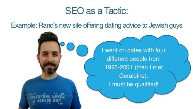 SEO as a Tactic: Example: Rand's new site offering dating advice to Jewish guys I went on dates with four different people...