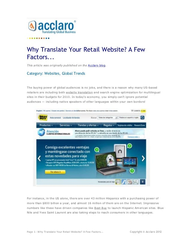 Why Translate Your Retail Website? A FewFactors...This article was originally published on the Acclaro blog.Category: Webs...