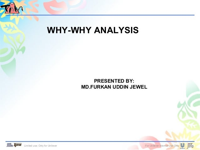 Limited use: Only for Unilever For Unilever Internal Use Only WHY-WHY ANALYSIS PRESENTED BY: MD.FURKAN UDDIN JEWEL