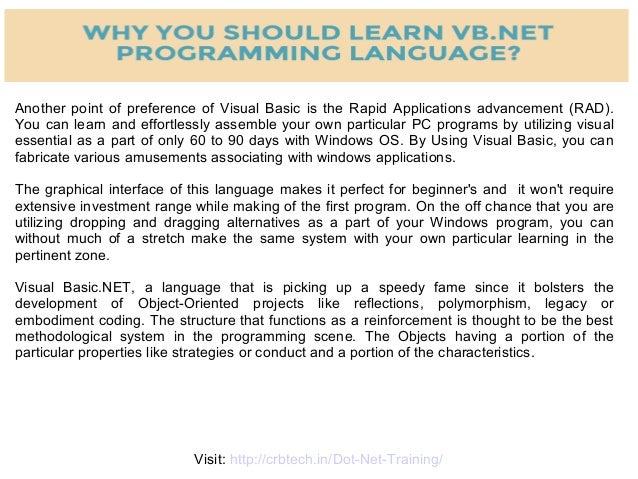 WHY YOU SHOULD LEARN VISUAL BASIC (VB NET) ?