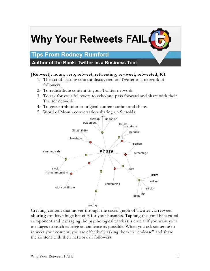 [Retweet]: noun, verb, retweet, retweeting, re-tweet, retweeted, RT   1. The act of sharing content discovered on Twitter ...