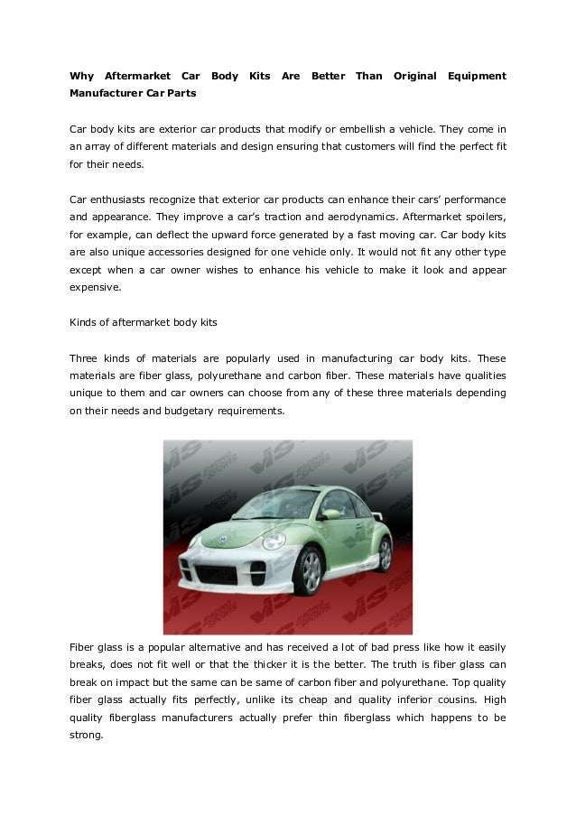 Why Aftermarket Car Body Kits Are Better Than Original Equipment Manu