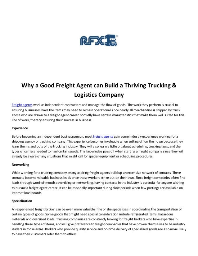 Why a Good Freight Agent can Build a Thriving Trucking &                        Logistics CompanyFreight agents work as in...