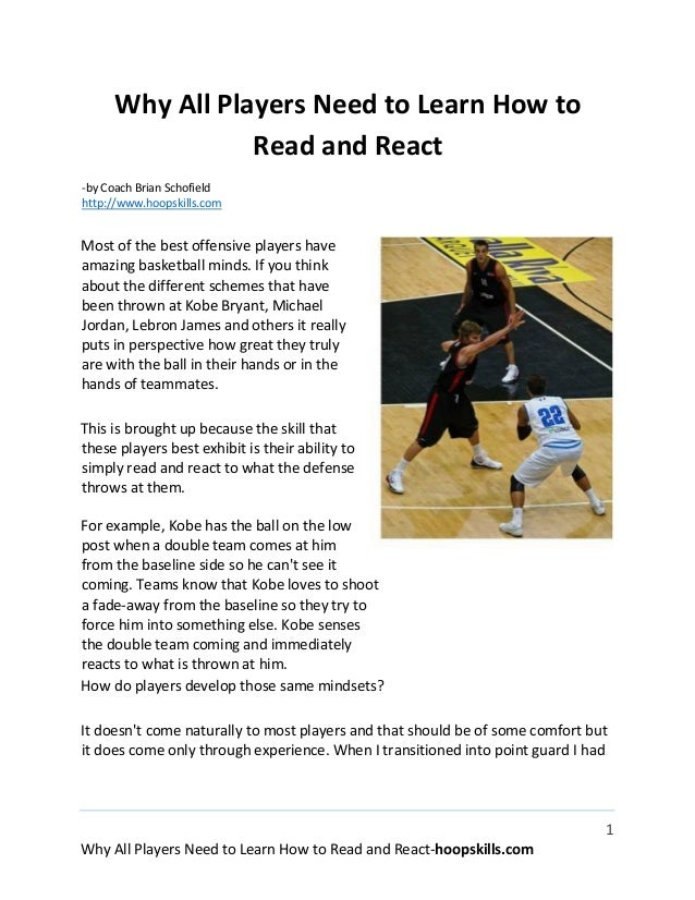 Why all basketball players need to learn how to read and react