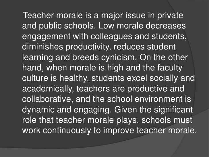 Why and how to improve teacher morale in