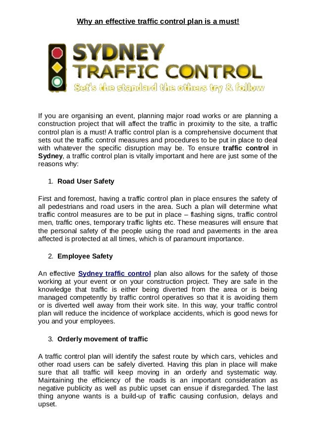 Why An Effective Traffic Control Plan Is A Must!