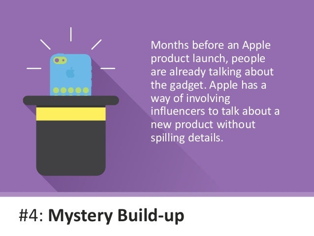 #4: Mystery Build-up Months before an Apple product launch, people are already talking about the gadget. Apple has a way o...