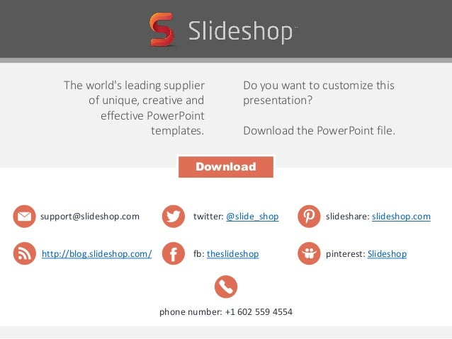 The world's leading supplier of unique, creative and effective PowerPoint templates. Do you want to customize this present...