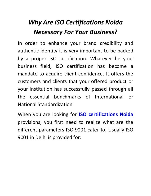 Why Are Iso Certifications Noida Necessary For Your Business