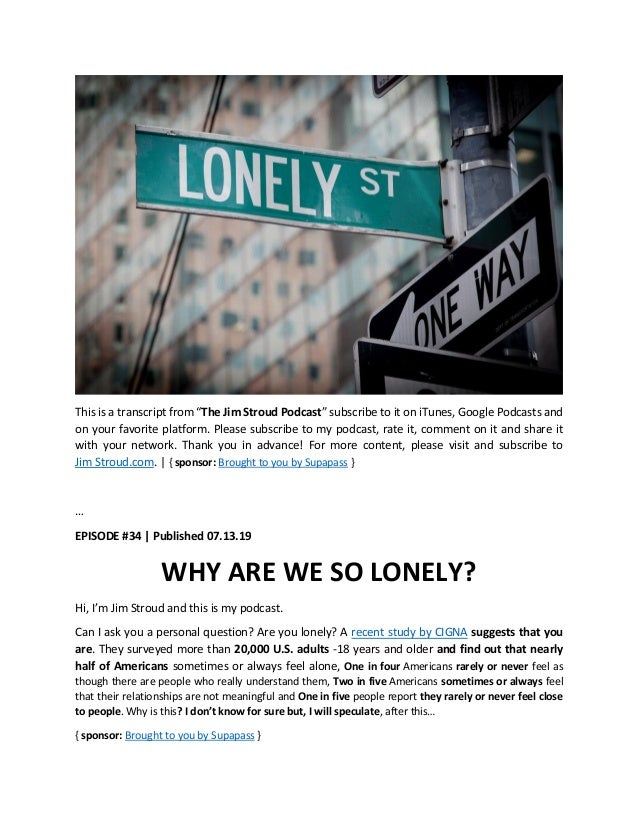 Why are we so lonely?