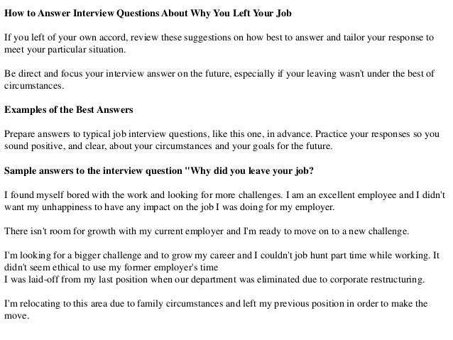 why are you leaving your job sample answers