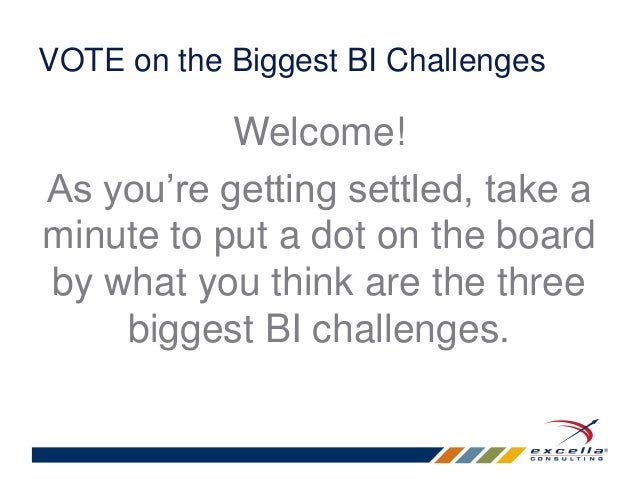 VOTE on the Biggest BI Challenges  Welcome!  As you're getting settled, take a  minute to put a dot on the board  by what ...