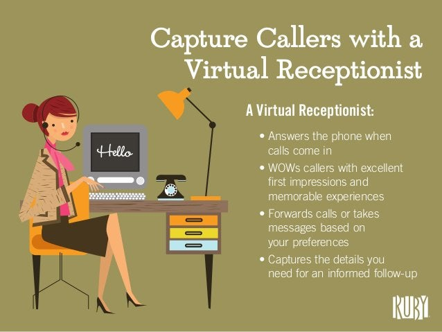 Hello Capture Callers with a Virtual Receptionist A Virtual Receptionist: • Answers the phone when calls come in • WOWs ca...