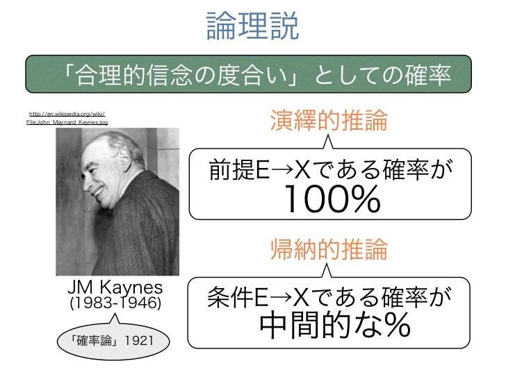 論理説        「合理的信念の度合い」としての確率                                  演繹的推論http://en.wikipedia.org/wiki/File:John_Maynard_Keynes.j...