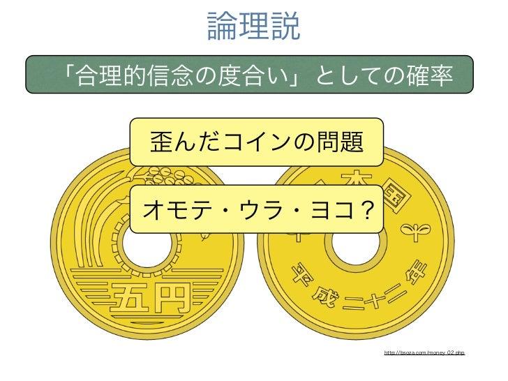 論理説「合理的信念の度合い」としての確率    歪んだコインの問題   オモテ・ウラ・ヨコ?                http://bsoza.com/money_02.php
