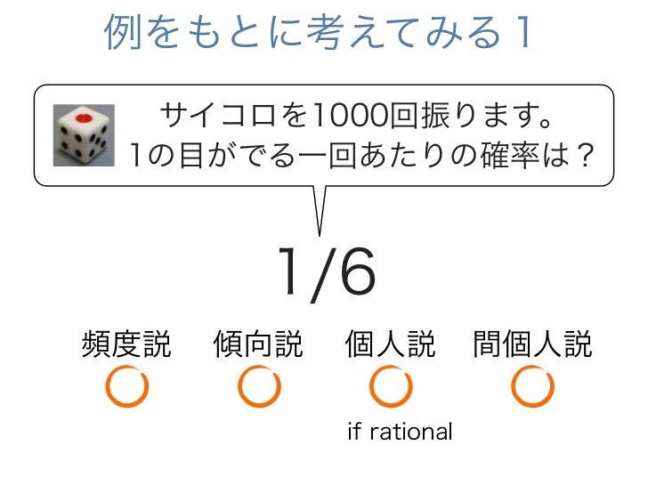 例をもとに考えてみる1  サイコロを1000回振ります。 1の目がでる一回あたりの確率は?       1/6頻度説   傾向説   個人説           間個人説            if rational